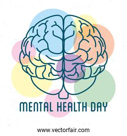 Mental Health Day lettering with brain and colors balls