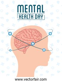 Mental Health Day lettering with head profile and brain