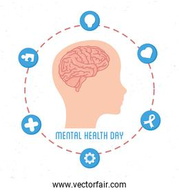 Mental Health Day lettering with brain in head profile human and set icons