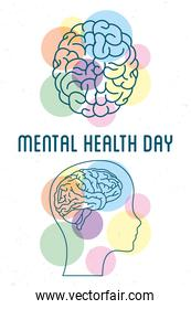 Mental Health Day lettering with brains and profile