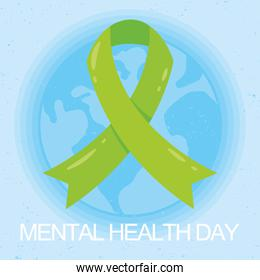Mental Health Day lettering with earth planet and green ribbon campaign