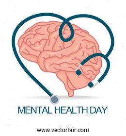 Mental Health Day lettering with brain and stethoscope icons