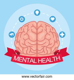 Mental Health Day lettering with brain and set icons in ribbon frame