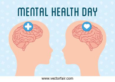 Mental Health Day lettering with brains in heads profiles