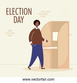 election day lettering with african man in voting cubicle