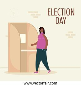 election day lettering with afro woman in voting cubicle