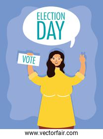 election day lettering in speech bubble with woman lifting voting card