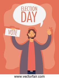 election day lettering in speech bubble with man lifting voting card