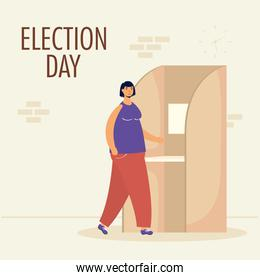 election day lettering with woman in voting cubicle