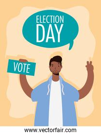 election day lettering in speech bubble with african man lifting card
