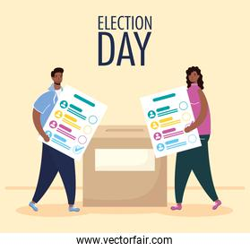 election day lettering with afro couple lifting voting cards in box