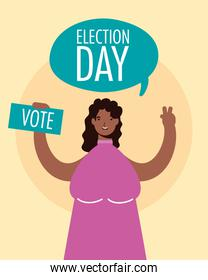 election day lettering in speech bubble with afro woman lifting voting card