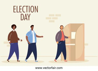 election day lettering with interracial men group in voting cubicle