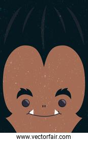 happy halloween cute wolf man face character