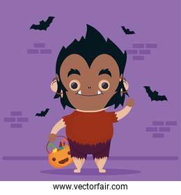 happy halloween cute wolf man character and bats flying