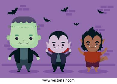 happy halloween wolfman and dracula with frankenstein characters