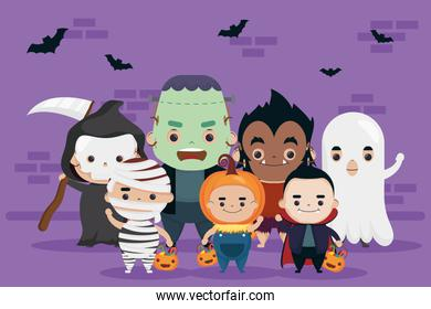 happy halloween group of cute characters and bats flying