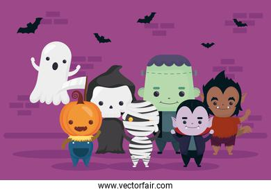 happy halloween bats flying and group of cute characters