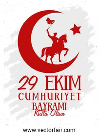 ekim bayrami celebration poster with soldier in horse waving flag and crescent moon