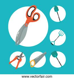 scissors and gardening tools flat style icons