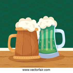 saint patrick celebration beer in wooden and green jars