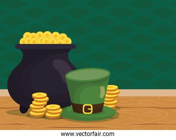 elf treasure cauldron with coins and hat