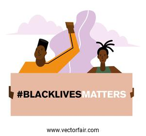 Black lives matter banner man and woman vector design