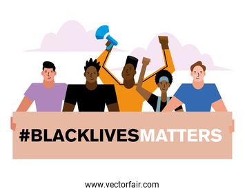 Black lives matter banner men and women vector design