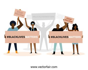 Black lives matter stop racism banners and people vector illustration