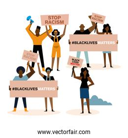 Black lives matter stop racism banners megaphone and people vector design