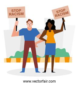 stop racism black lives matter banners woman and man vector design