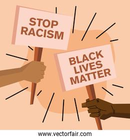 Black lives matter and stop racism banners vector design