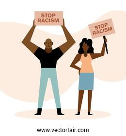 Black lives matter stop racism banners woman and man vector design