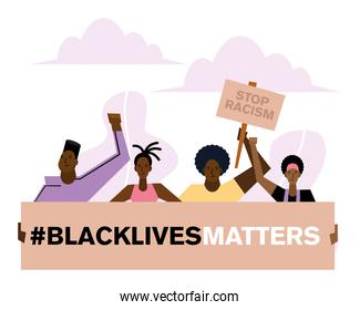 Black lives matter stop racism banners people and clouds vector design