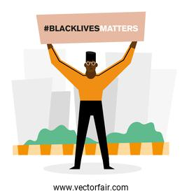 Black lives matter banner and man vector design