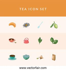 tea line and fill style 12 icon set vector design