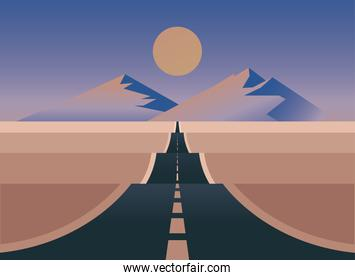 landscape of street with moon vector design