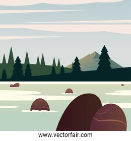 Landscape of river in front of pine trees vector design