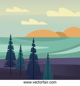 landscape of pine trees in front of river vector design