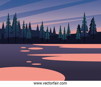 landscape of pine trees on mountains vector design