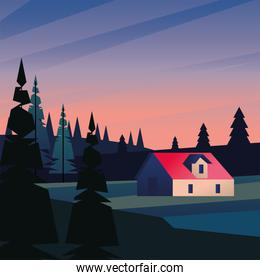 landscape of house with pine trees vector illustration