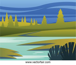 landscape of river with pine trees and leaves vector design