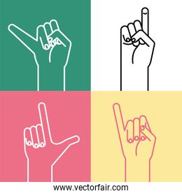 hand sign language alphabet line style icons collection vector design