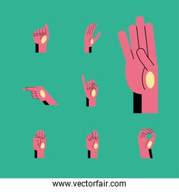 hand sign language alphabet line and fill style icon set vector design