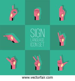 hand sign language alphabet line and fill style set icons vector design