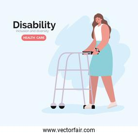 disability woman cartoon on wheelchair vector design