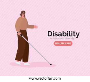 disability blind woman cartoon with glasses and cane vector design