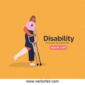 disability woman cartoon with leg cast and crutches vector design