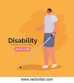 disability blind man cartoon with glasses and cane vector design