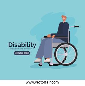 disability man cartoon on wheelchair vector design